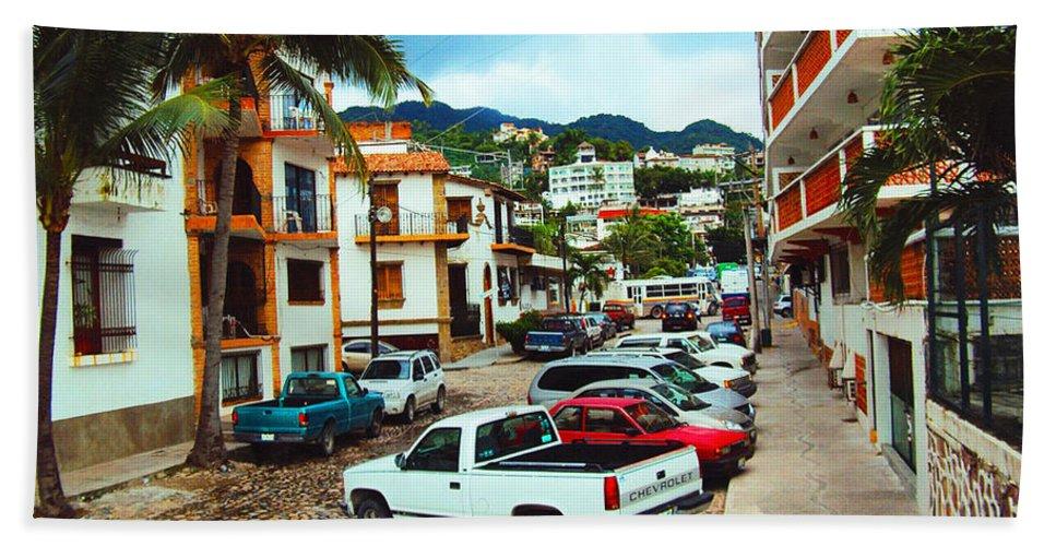 Puerto Vallarta Hand Towel featuring the photograph A Street In Puerto Vallarta by Kathy Kelly