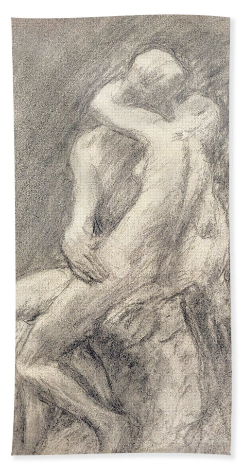 Rodin Bath Towel featuring the drawing A Study Of Rodin's Kiss In His Studio by Gwen John