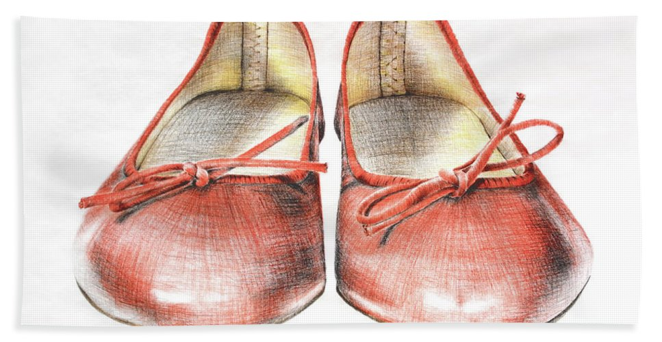 Shoes Hand Towel featuring the drawing A Sunday Walk by Katharina Filus