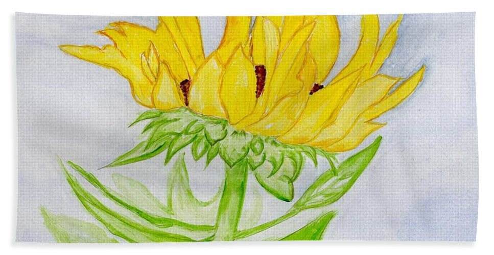 Sunflower Bath Sheet featuring the painting A Sunflower Blessing by Anne Gitto