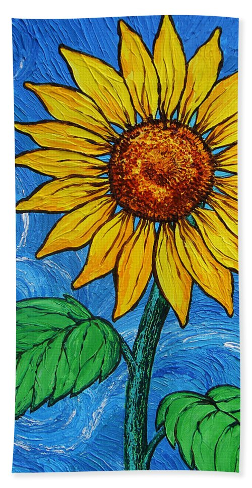 Sunflowers Hand Towel featuring the painting A Sunflower by Juan Alcantara