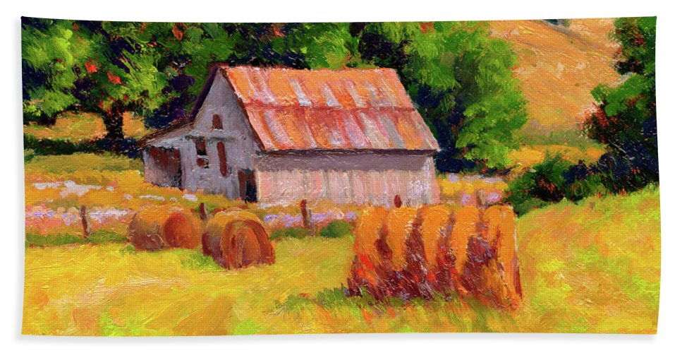 Landscape Hand Towel featuring the painting A Sunny Morning by Keith Burgess