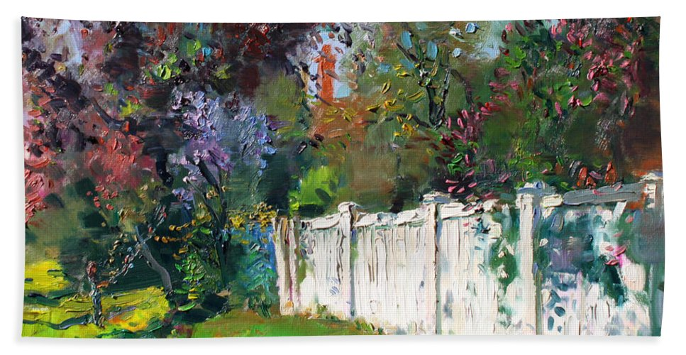Trees Bath Sheet featuring the painting A Sunny Sunday by Ylli Haruni