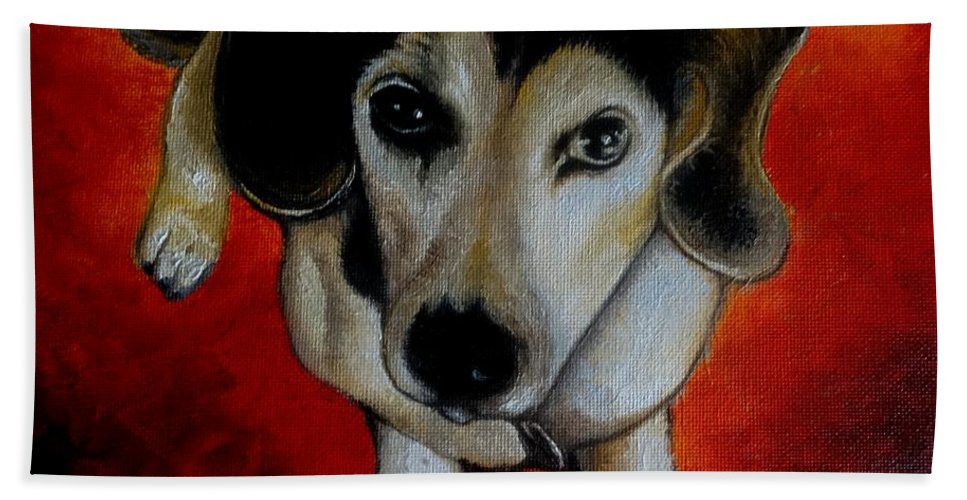 Oil Bath Towel featuring the painting A Sweet Soul by Glory Fraulein Wolfe