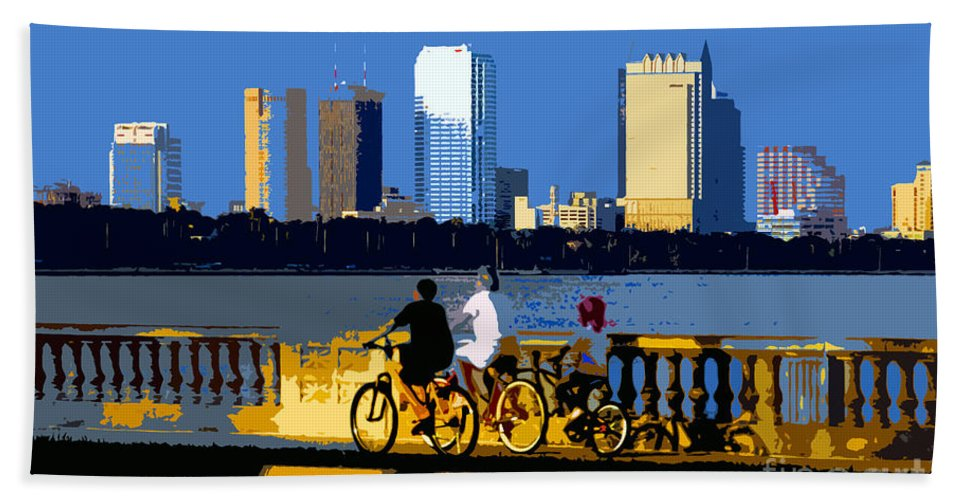 Tampa Bay Florida Bath Towel featuring the painting A Tampa Bay Florida Summer by David Lee Thompson
