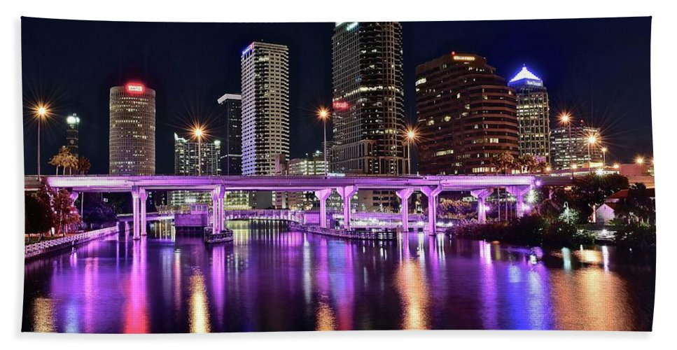 Tampa Hand Towel featuring the photograph A Tampa Night by Frozen in Time Fine Art Photography