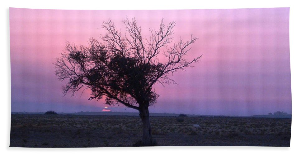 Lone Tree Sunset Purple Sky Desert Isolated Lonely Baron Land Hand Towel featuring the photograph A Touch Of Alone by Andrea Lawrence