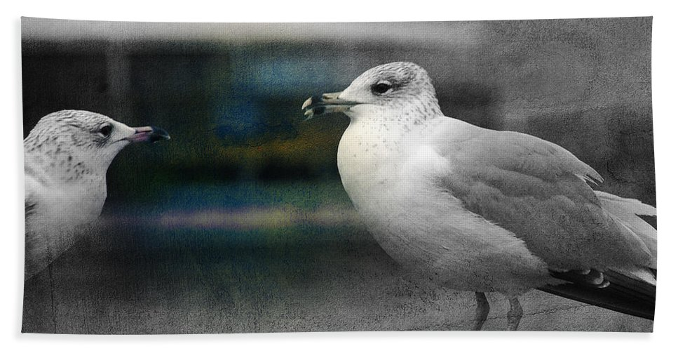 Two Seagulls Hand Towel featuring the photograph A Touch Of Blue by Susanne Van Hulst