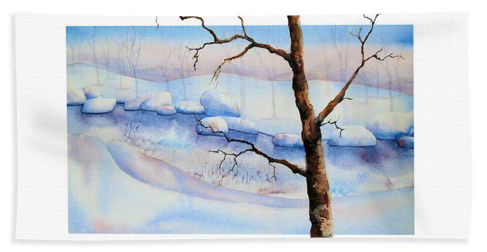 Tree Bath Towel featuring the painting A Tree In Another Dimension by Debbie Lewis