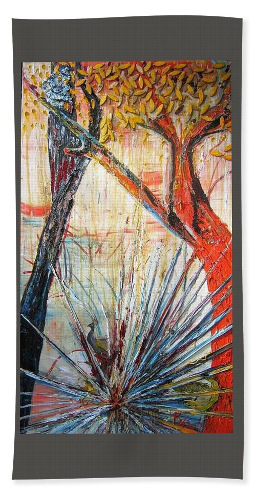 Trees Bath Towel featuring the painting A Tribute by Peggy Blood