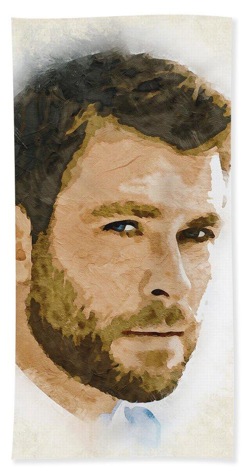 Chris Hemsworth Bath Towel featuring the digital art A Tribute To Chris Hemsworth by Dusan Naumovski