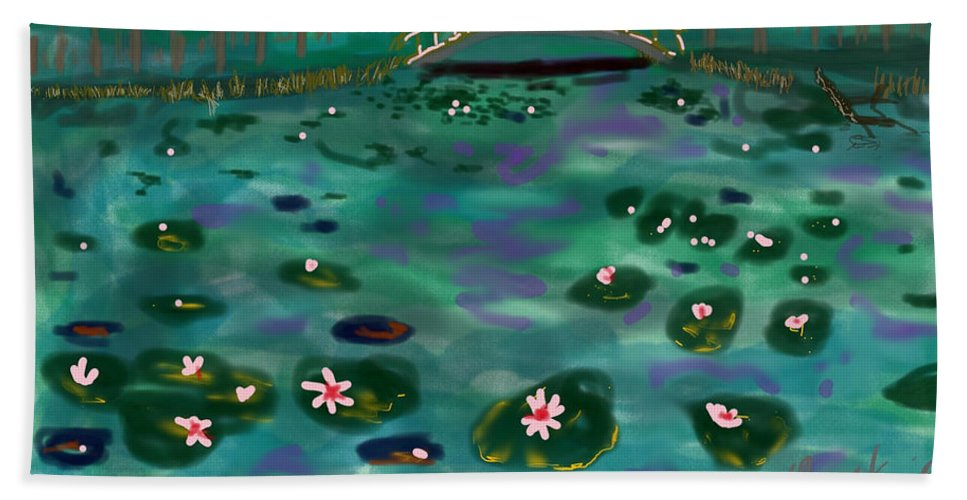 Monet Lilies Color Bridge Water Pond Bath Sheet featuring the digital art A Tribute To Lillies by David R Keith