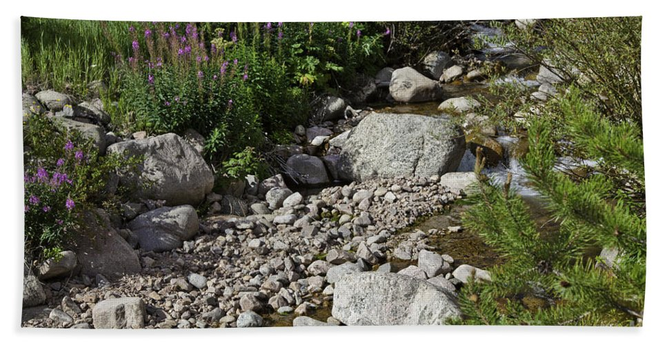 Stream Hand Towel featuring the photograph A Vail Stream by Madeline Ellis