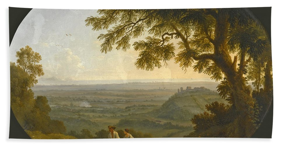 Jacob Philipp Hackert Bath Sheet featuring the painting A View Across The Alban Hills With A Hilltop On The Right And The Sea In The Far Distance by Jacob Philipp Hackert