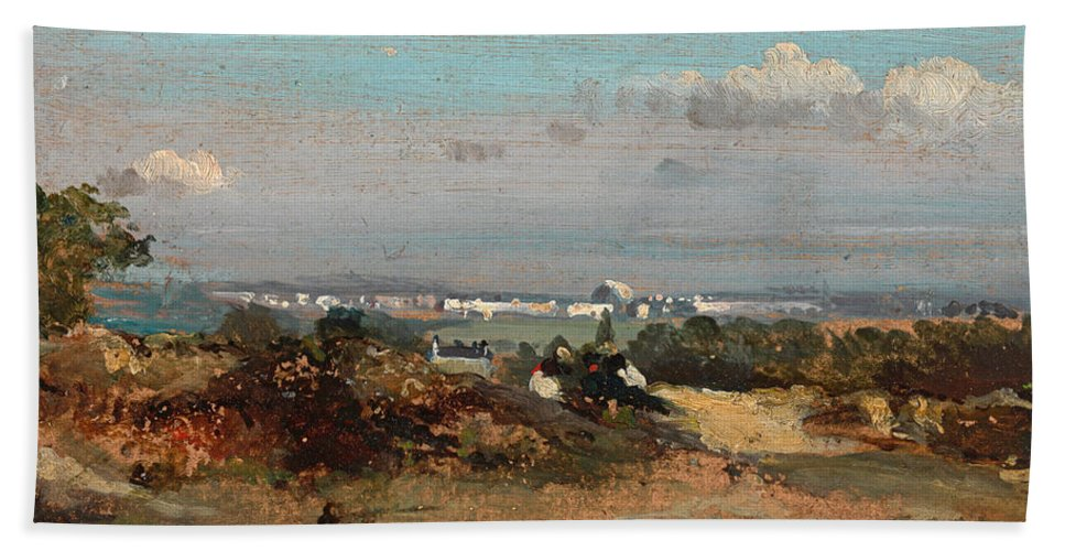 Frederick W Watts Bath Sheet featuring the painting A View In Suffolk by Frederick W Watts