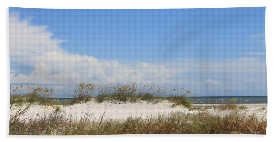 Beach Hand Towel featuring the photograph A View Of The Dunes by Laura Martin