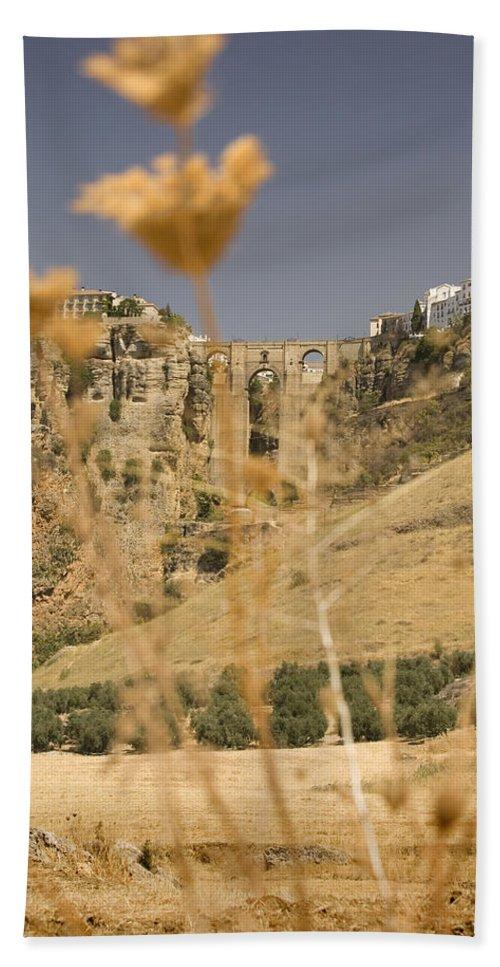 Tajo Hand Towel featuring the photograph A View Of The Tajo De Ronda And Puente Nuevo Bridge Serrania De Ronda Andalucia Spain by Mal Bray