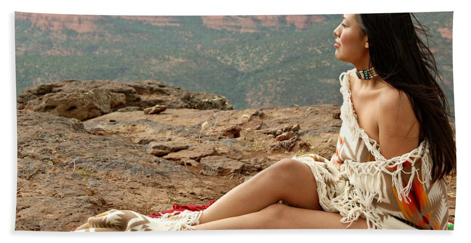 Native American Hand Towel featuring the photograph A View by Scott Sawyer