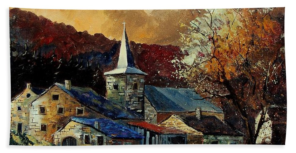 Tree Hand Towel featuring the painting A Village In Autumn by Pol Ledent