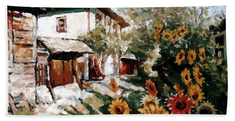 Summer Hand Towel featuring the painting A Village In Summer by Iliyan Bozhanov