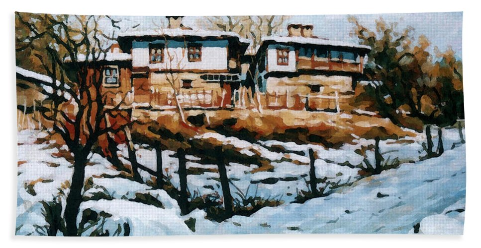 Landscape Hand Towel featuring the painting A Village In Winter by Iliyan Bozhanov