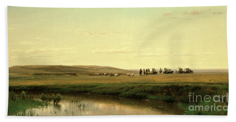 A Wagon Train On The Plains (oil On Board) By Thomas Worthington Whittredge (1820-1910) Hand Towel featuring the painting A Wagon Train On The Plains by Thomas Worthington Whittredge