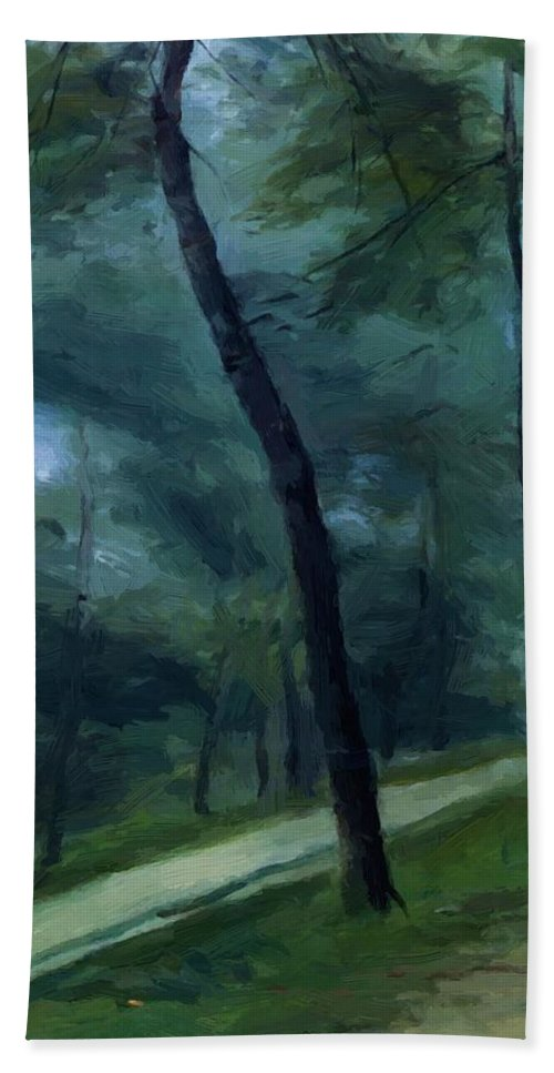 A Hand Towel featuring the painting A Walk In The Woods Madame Lecoeur And Her Children 1870 by Renoir PierreAuguste