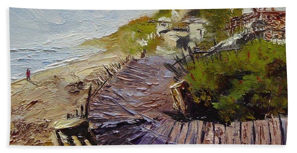 Beach Hand Towel featuring the painting A Walk On The Beach by Barbara Andolsek
