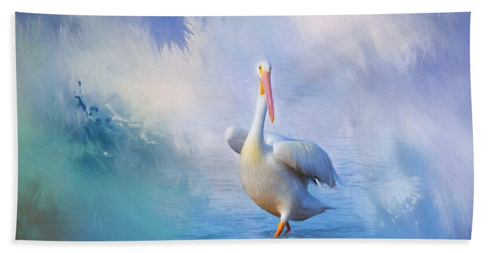 Pelican Hand Towel featuring the photograph A Walk On Water by Kim Hojnacki