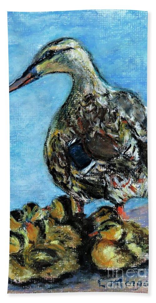 Duck Bath Towel featuring the painting A Watchful Eye by Laurie Morgan