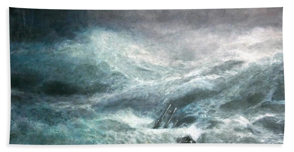 Aivazovsky Hand Towel featuring the painting a wave my way by Jarko by Jarmo Korhonen aka Jarko
