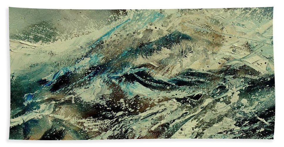 Sea Hand Towel featuring the painting A Wave by Pol Ledent