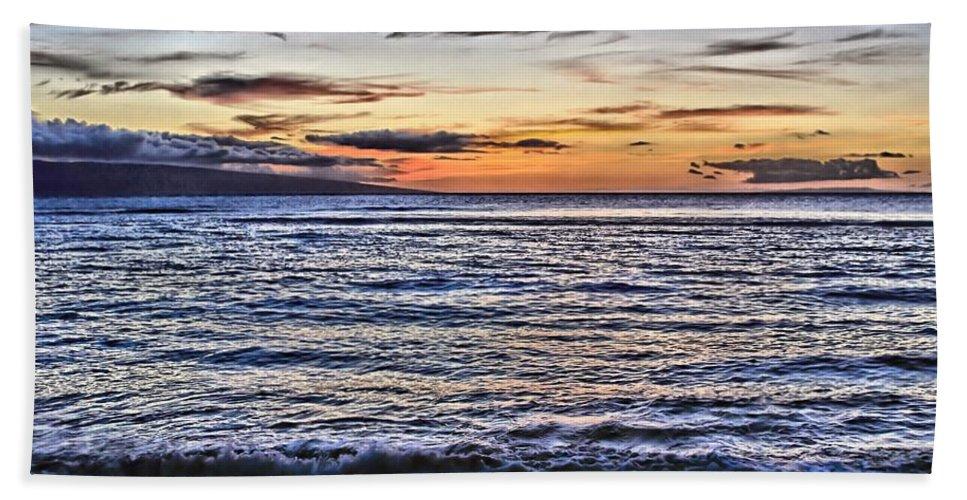 Sunset Bath Sheet featuring the photograph A Western Maui Sunset by DJ Florek