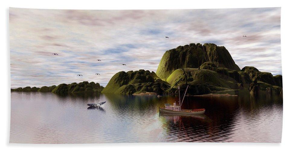a Whales Tail Bath Sheet featuring the digital art A Whales Tail By John Junek by John Junek