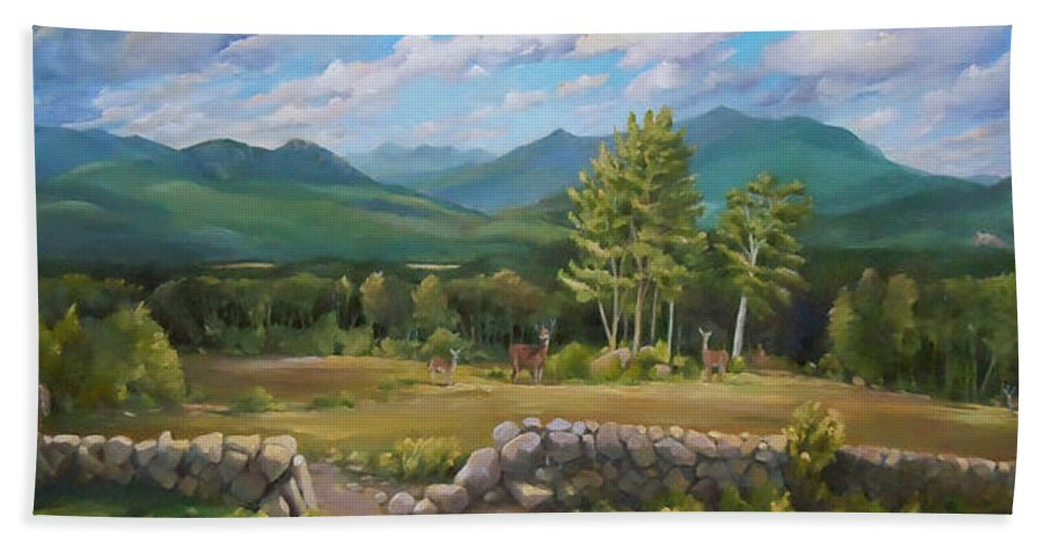 White Mountain Art Bath Sheet featuring the painting A White Mountain View by Nancy Griswold