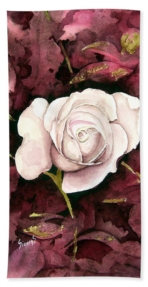 Flower Bath Towel featuring the painting A White Rose by Sam Sidders