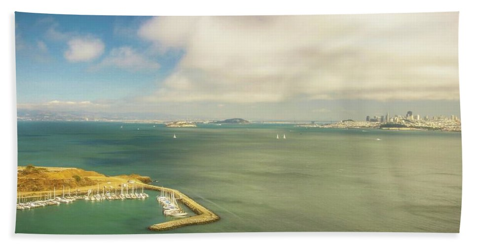 California Hand Towel featuring the photograph A Wide View Of San Francisco Bay Looking Toward The City And Alc by Rusty R Smith