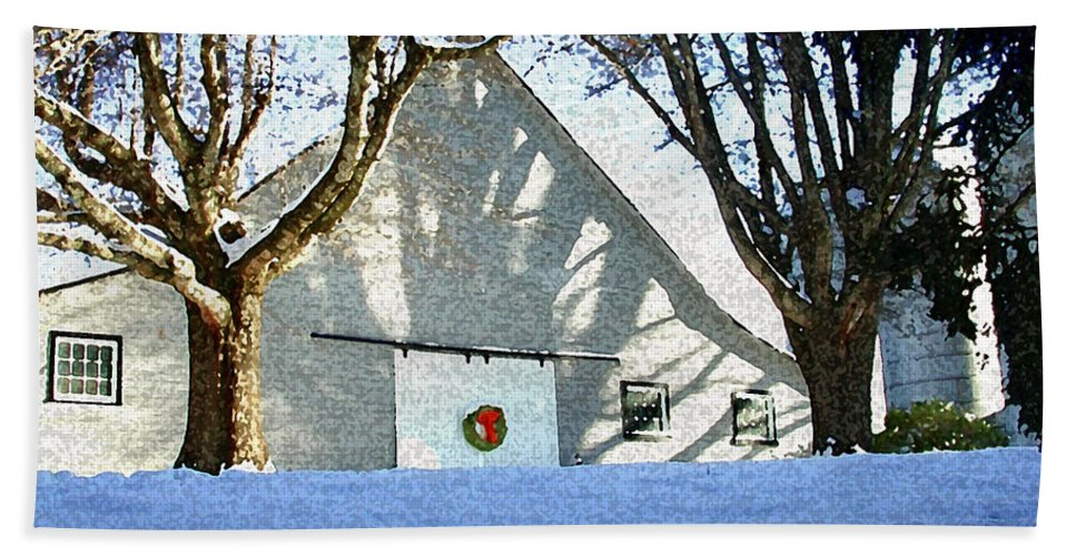 Barn Bath Sheet featuring the photograph A Winter Holiday At The Farm by Robert Ponzoni