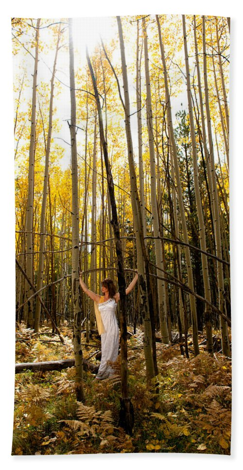 Aspen Hand Towel featuring the photograph A Woman In The Aspen by Scott Sawyer