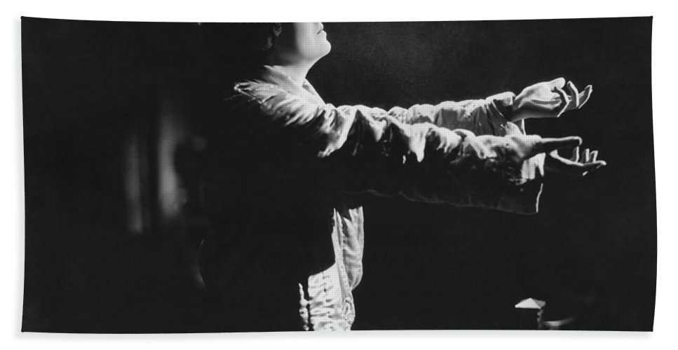 1 Person Hand Towel featuring the photograph A Woman Sleep Walking by Underwood Archives