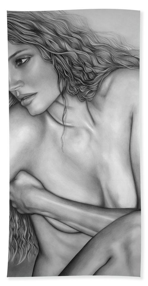 A Woman Bath Towel featuring the drawing A Womans Beauty by Larry Lehman
