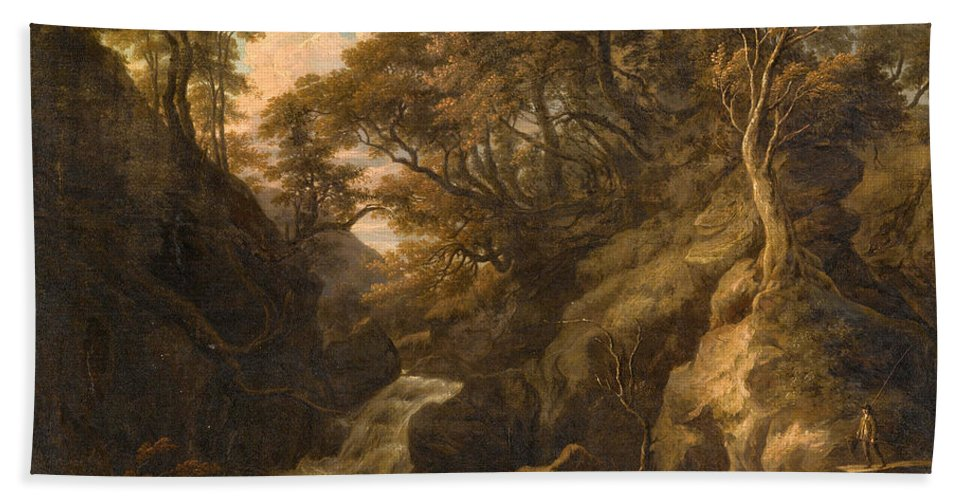 William Ashford Bath Sheet featuring the painting A Wooded Landscape With A Waterfall And A Fisherman Walking Along A Path by William Ashford