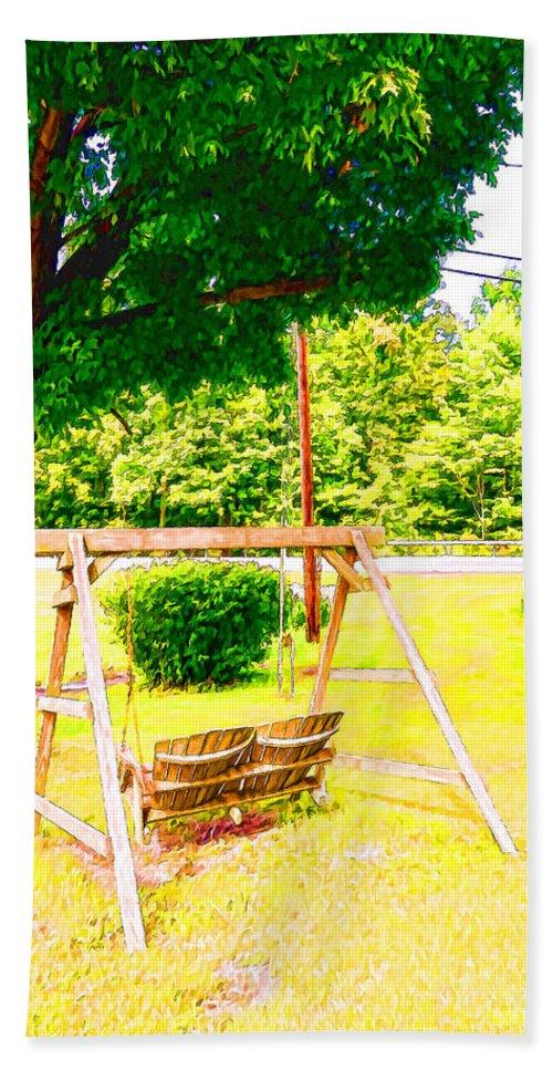 A Wooden Swing Under The Tree Bath Sheet featuring the painting A Wooden Swing Under The Tree by Jeelan Clark