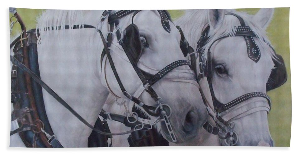 Horse Bath Sheet featuring the painting A Working Pair by Pauline Sharp