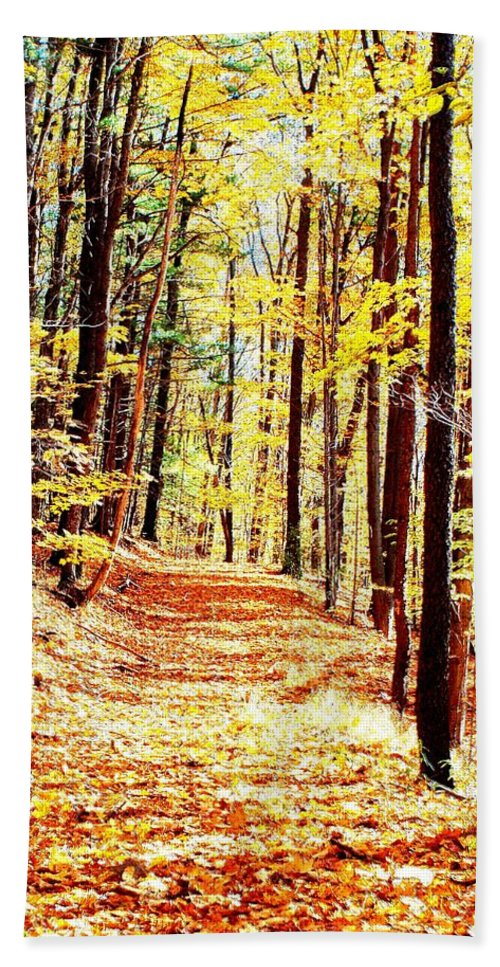 Autumn Hand Towel featuring the photograph A Yellow Wood by Joshua House