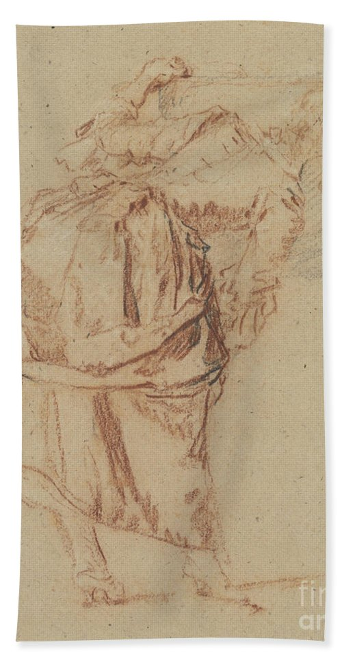 Hand Towel featuring the drawing A Young Woman Looking In A Mirror by Nicolas Lancret