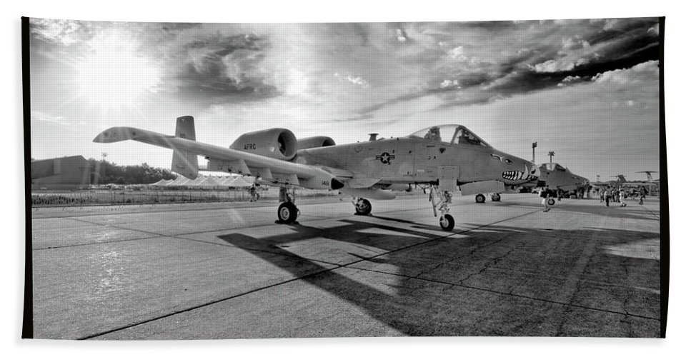 Airshow Bath Sheet featuring the photograph A10 Thunderbolt by Greg Fortier