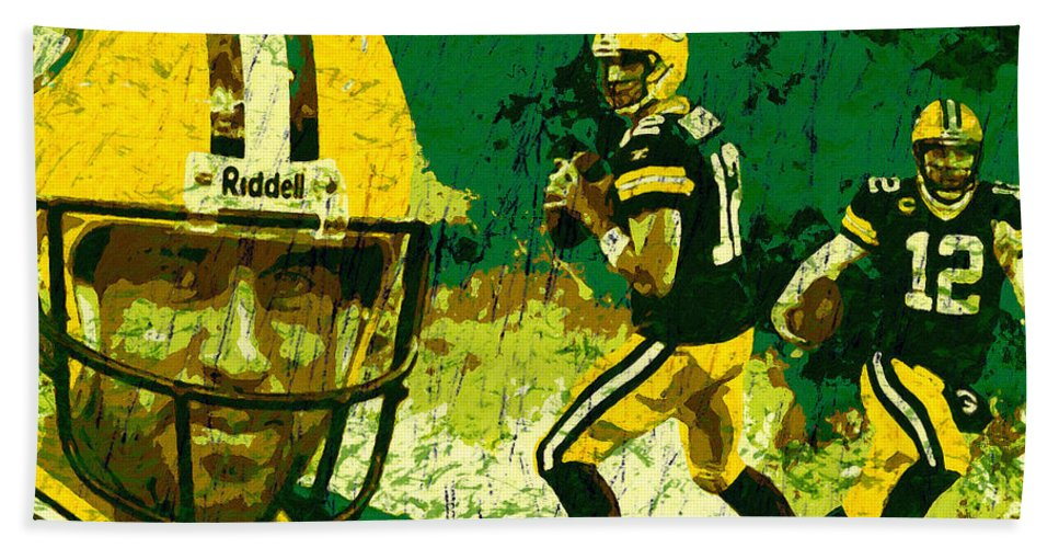 Aaron Rodgers Hand Towel featuring the painting Aaron Rodgers 2015 by John Farr