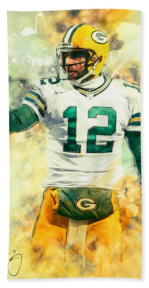 Aaron Rodgers Hand Towel featuring the painting Aaron Rodgers by Zapista