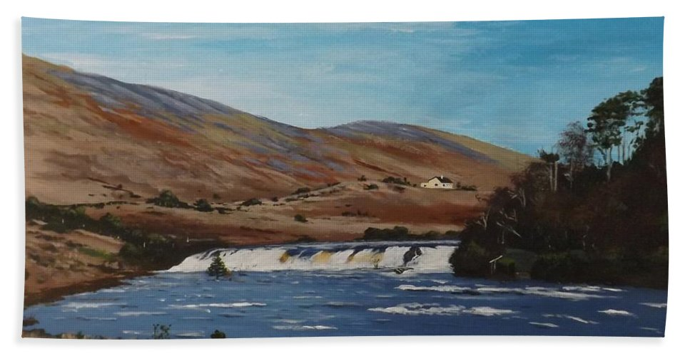 West Of Ireland Hand Towel featuring the painting Aasleagh Falls by Tony Gunning